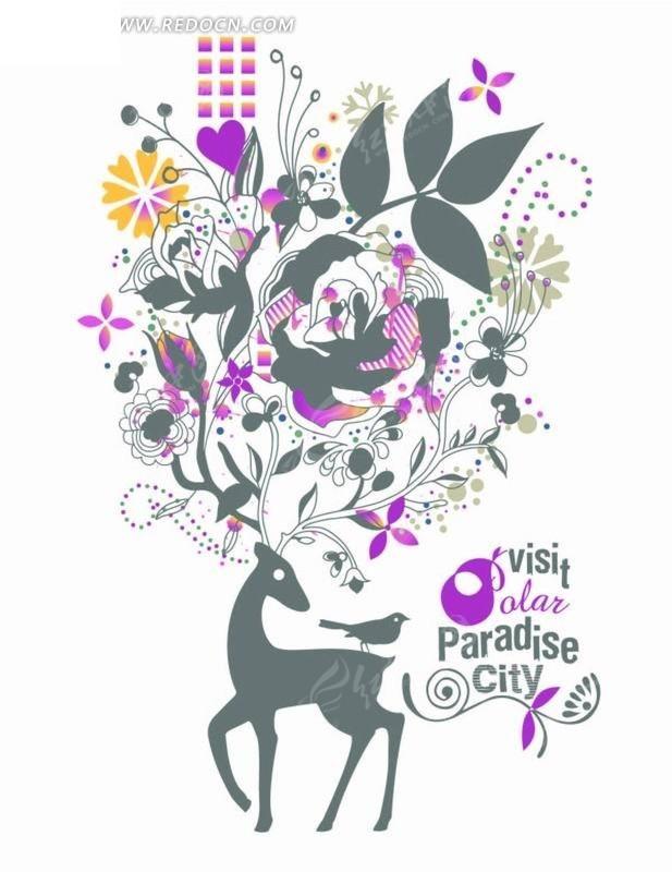 卡通动画插画-花纹花朵叶子小鹿小鸟