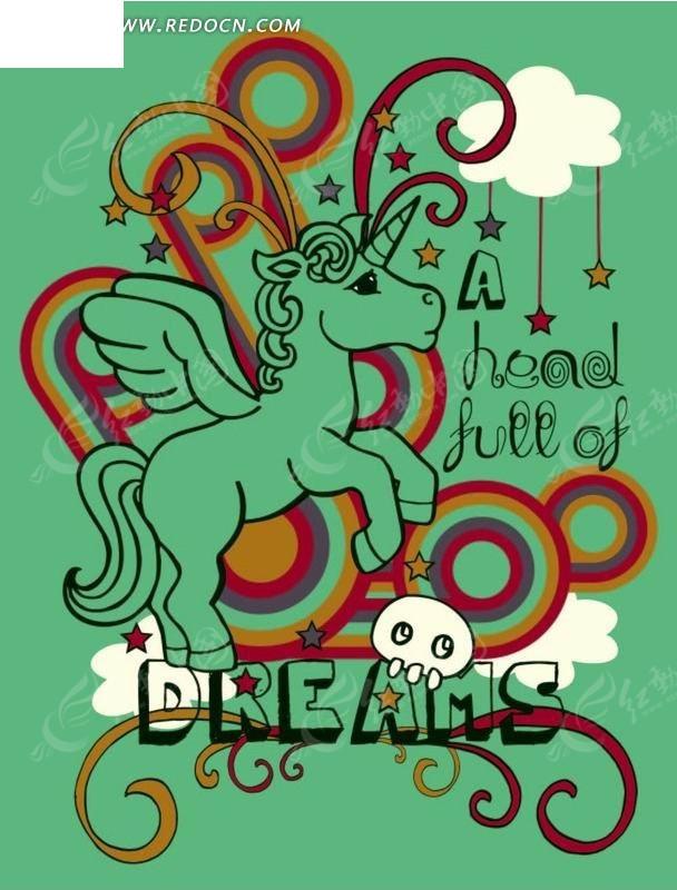 潮流 长翅膀的马 圆环 花纹 手绘 插画 卡通 卡通动物 漫画 漫画动物