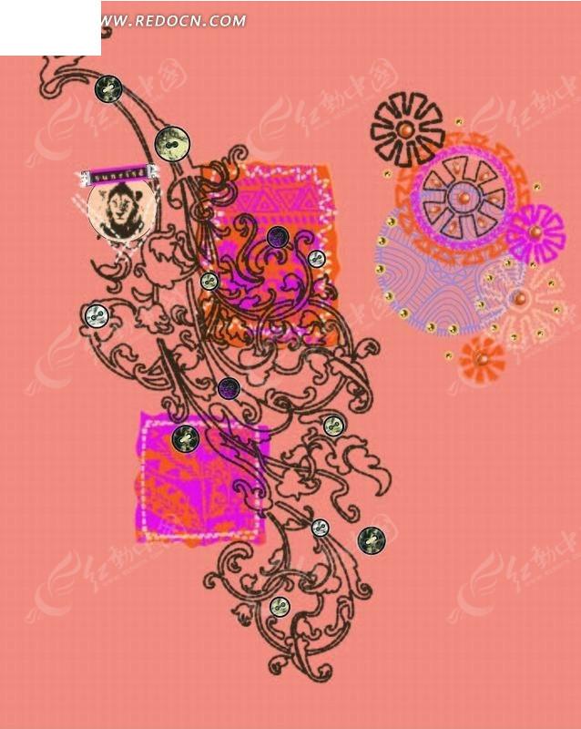 欧式花纹 亮片 布艺 花朵