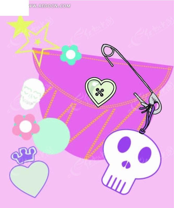 潮流 骼髅 包包 回形针 爱心 手绘 插画 卡通 漫画 印花图案 矢量素材