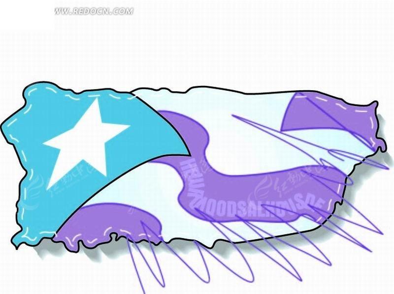 手绘插画 涂鸦 蓝色闪星的美国大陆