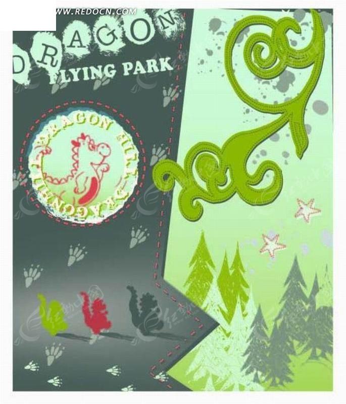 圆形 脚印 星星 森林 树木 图形标识 手绘 插画 卡通 漫画 印花图案