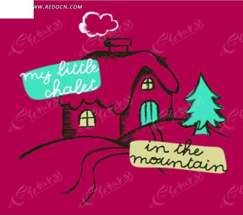 潮流 线条型房屋 山坡 树 玫红背景 手绘 插画 卡通 漫画 印花图案
