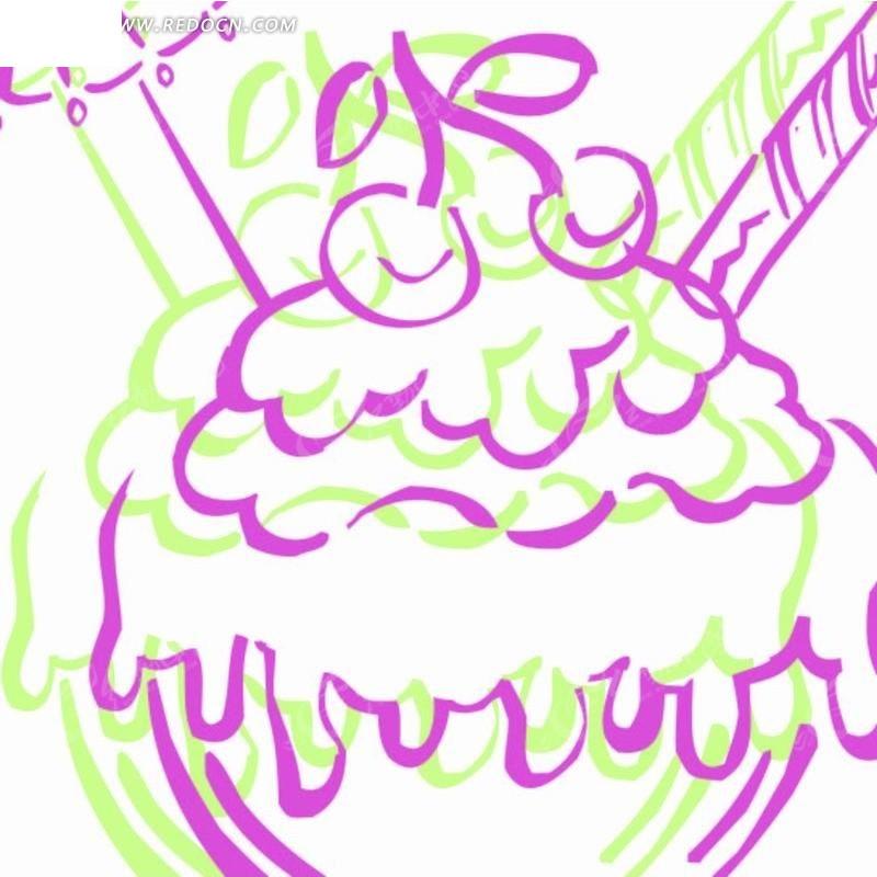 手绘插画 线绘樱桃冰淇淋