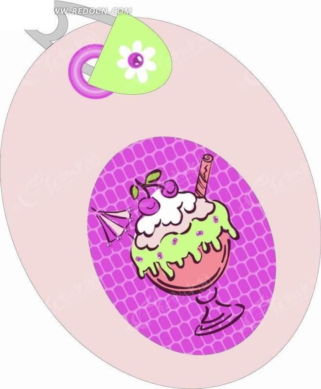 手绘插画 椭圆标签上的樱桃冰淇淋