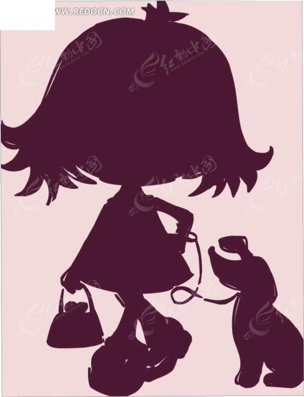 卡通人物插画-提包溜狗的小女孩剪影