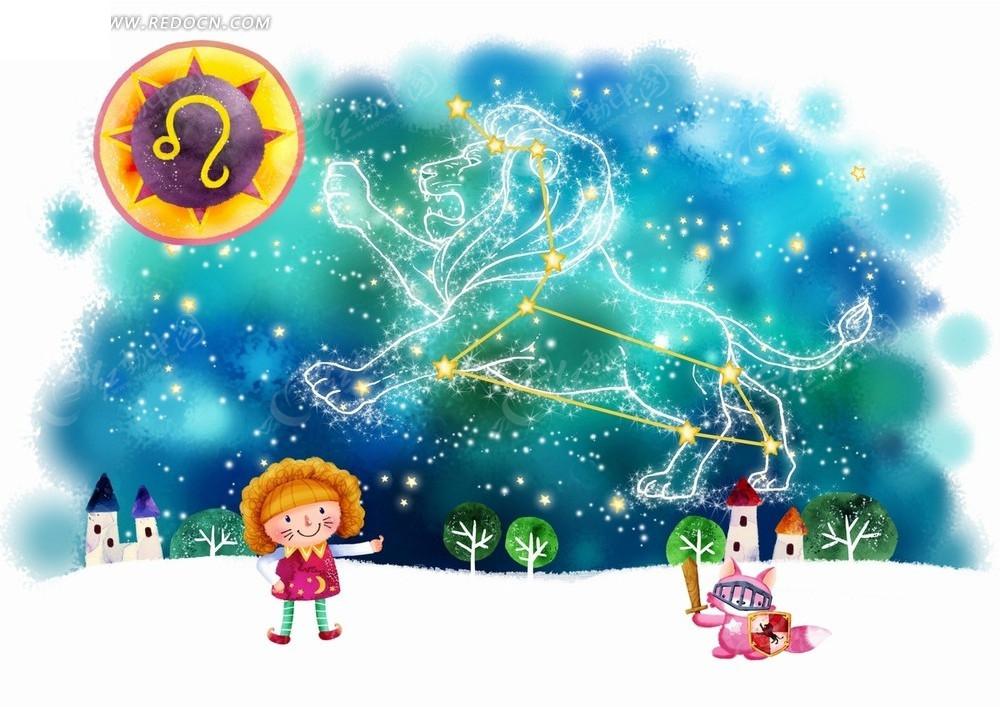 猫咪插画星座--空中的狮子座和斗剑的女孩卡通狮子座男生分手后骂人图片