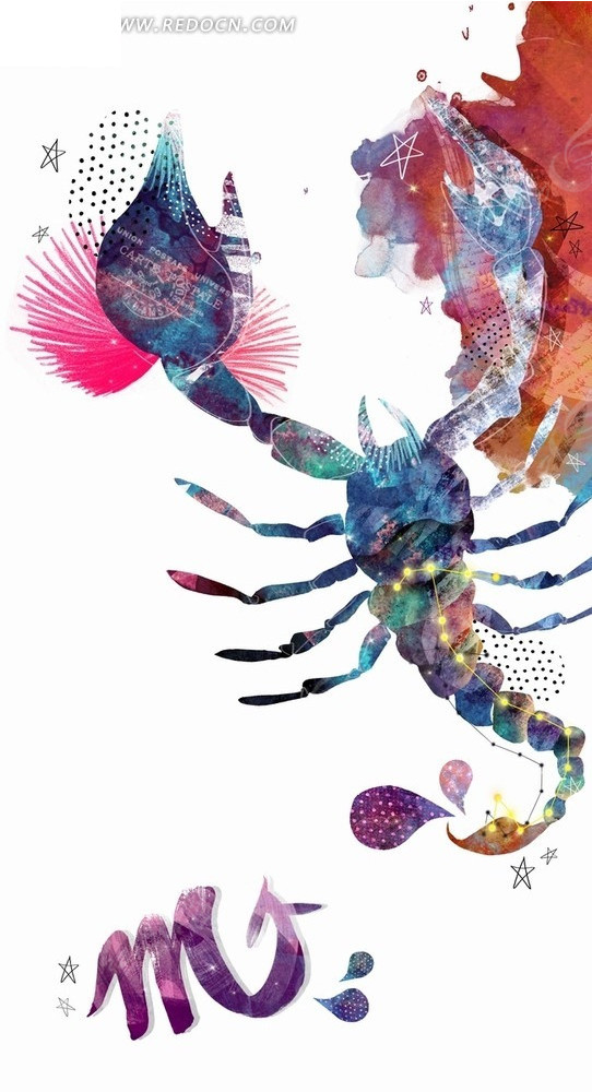 蝎子  水彩画