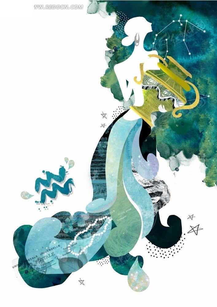 水瓶座 星座    水彩画 手绘 卡通 插画  卡通星座插画 卡通人物 漫画