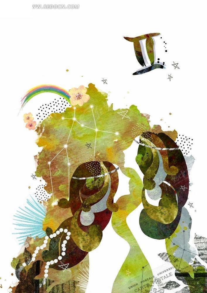 双子座的手绘水彩画
