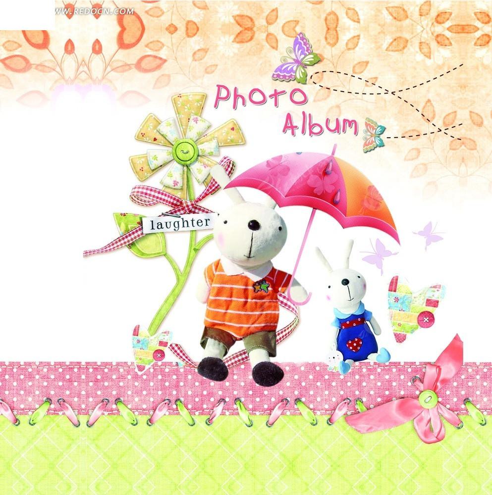 拿着雨伞的米兔卡通画