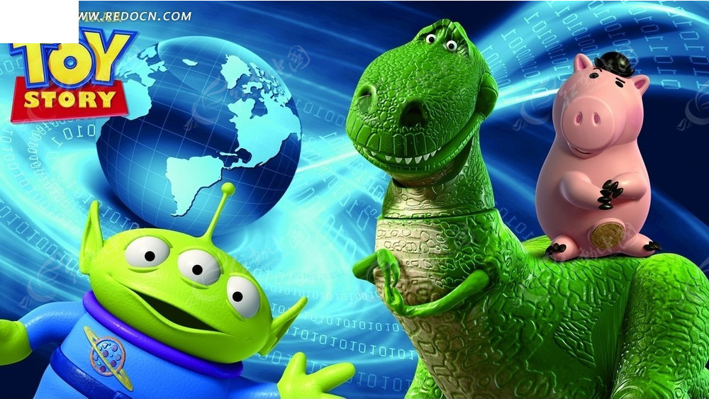 卡通角色—太空外星人和抱抱龙身上的火腿psd素材