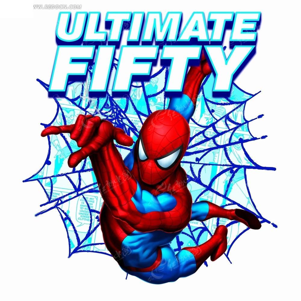 惊奇漫画人物—蓝色蜘蛛网前的红色蜘蛛侠psd素材
