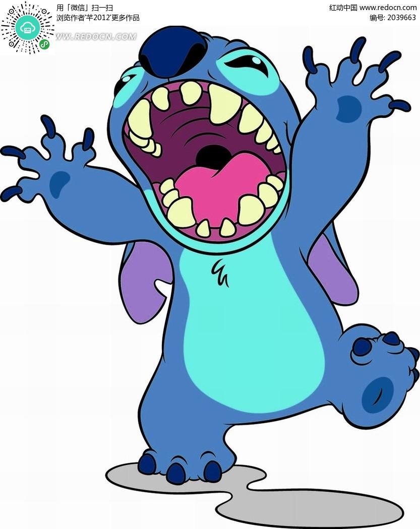卡通动物 张嘴挥着手的怪兽矢量图_卡通形象