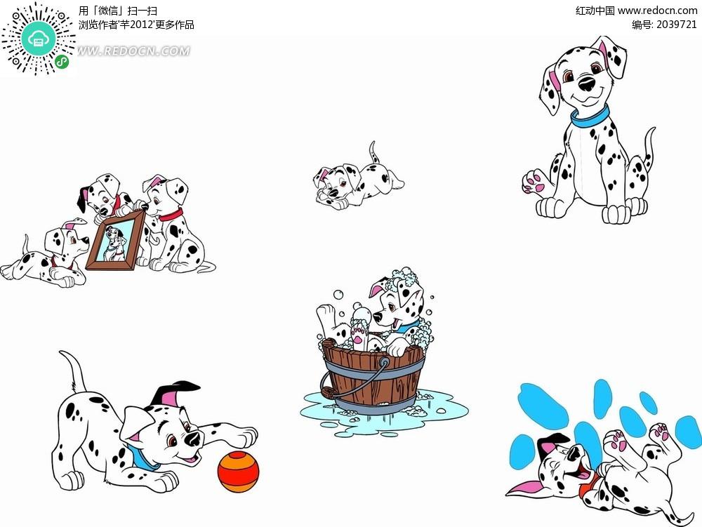 卡通动漫 玩耍的101斑点狗动作集合矢量图免费