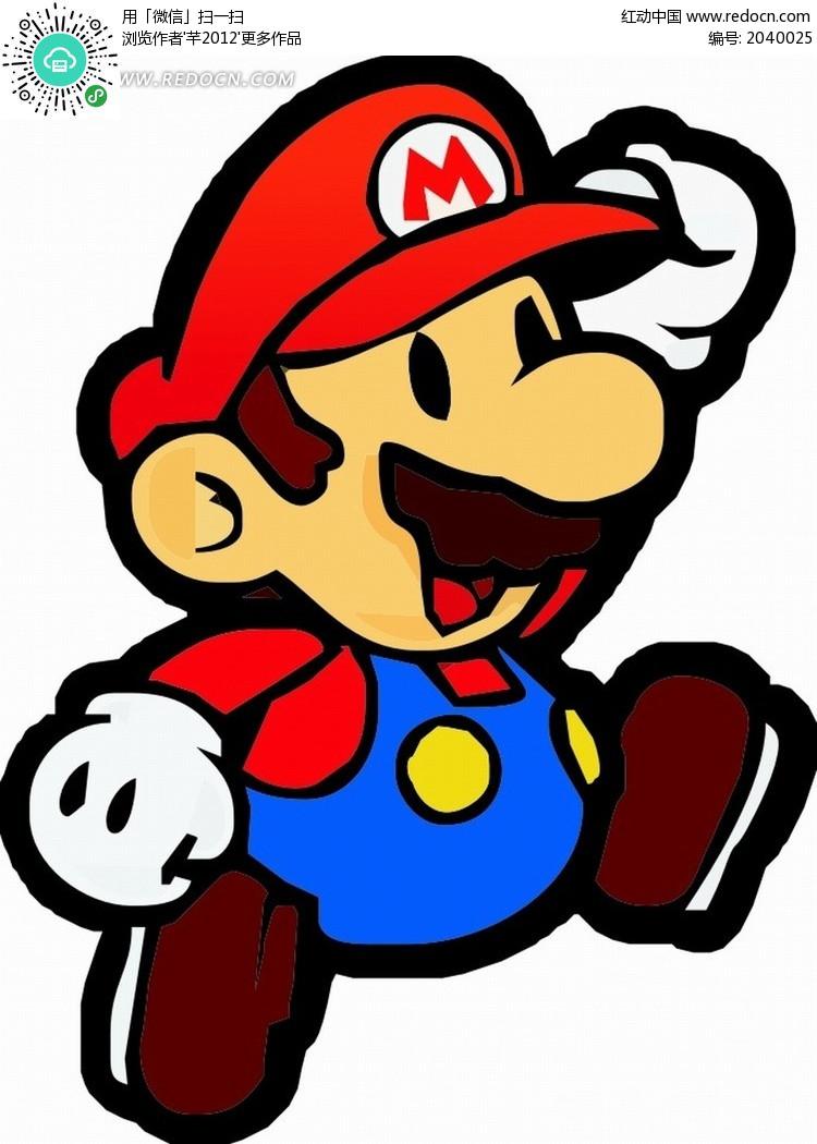 卡通人物 红色帽子可爱的超级马里奥