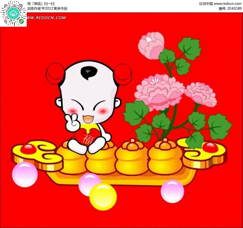 牡丹花团卡通图片 月饼盒
