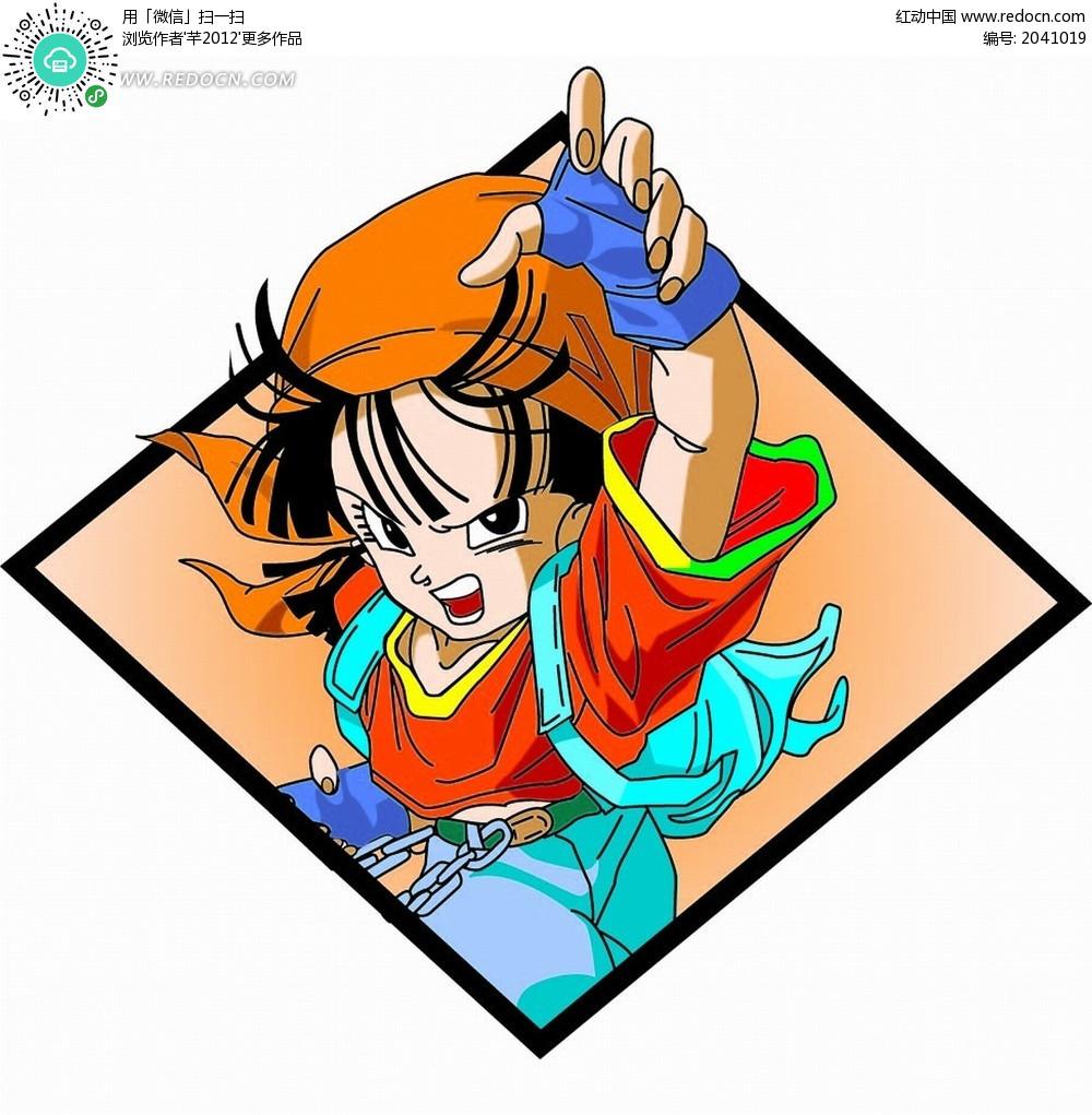 动漫卡通七龙珠 孙悟空和贝吉塔合体的贝吉特_卡通_红