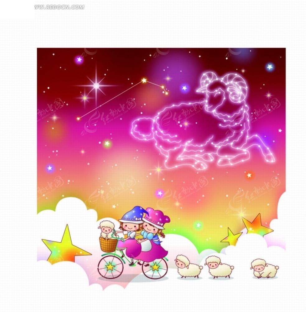 卡通动漫 白羊座踩自行车的小男孩和小女孩和绵羊 卡通人物矢量图下图片