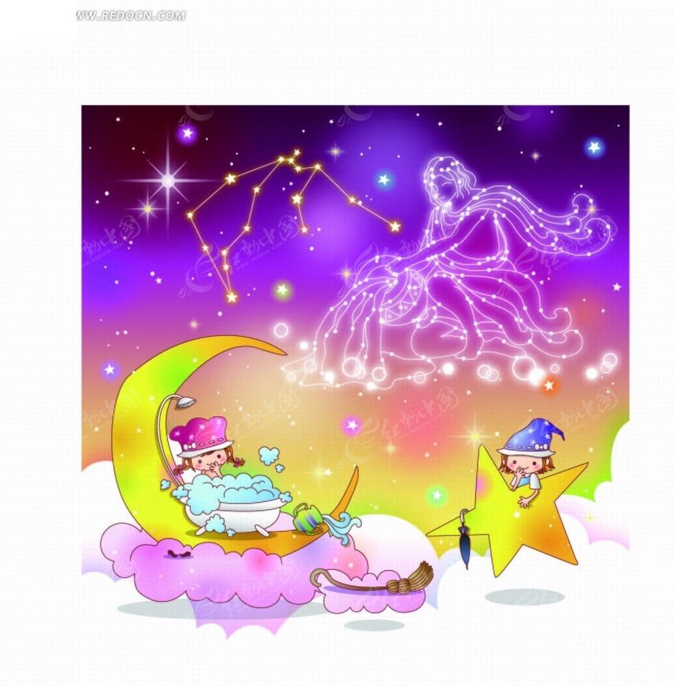 星星星座插画座水瓶图和月亮星座边的儿童摩羯座和巨蟹座谁善良图片