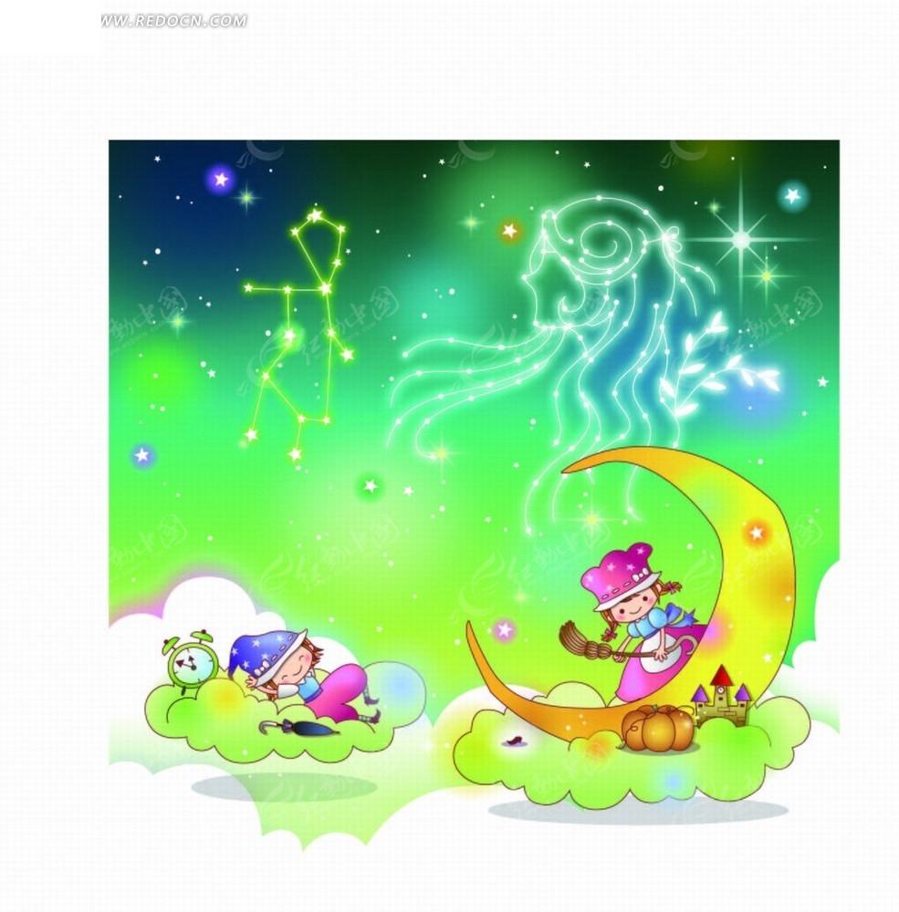 座插画 处女座星象图和月亮云朵上的儿童矢量图AI免费下载 卡通形象
