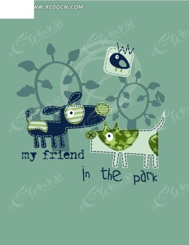 卡通动物插画 两只小花狗和树木