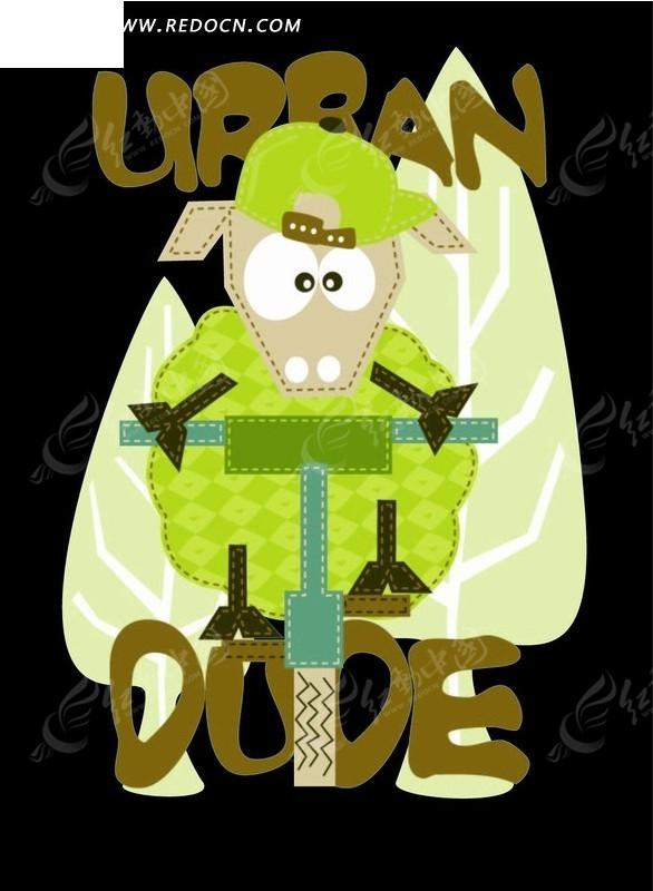 卡通画 骑自行车的绿色绵羊