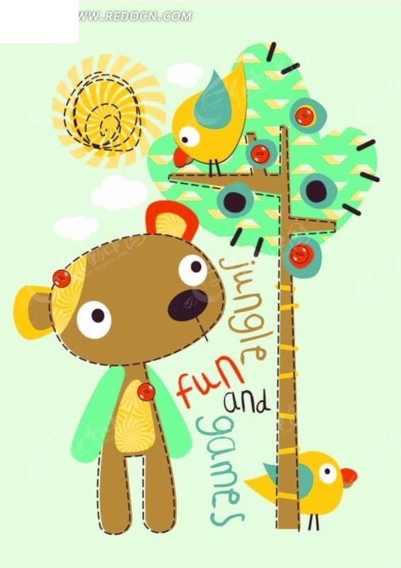 卡通动物插画-小熊和树上的小鸟