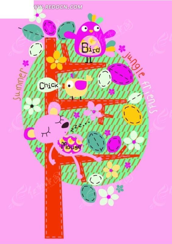 卡通动物插画-躺在树上睡着的小熊和小鸟