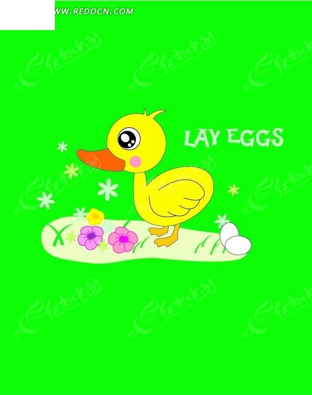 绿地上的小黄鸭子