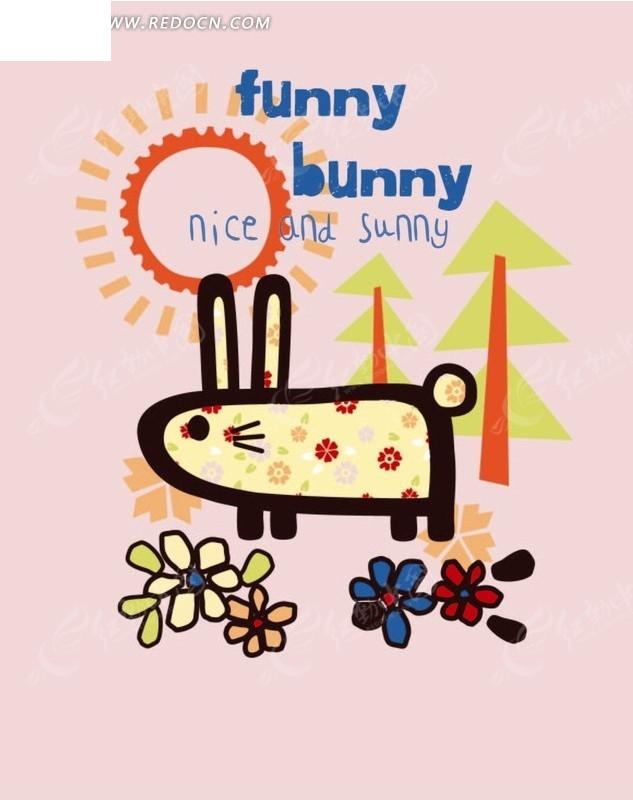 卡通动物插画-小白兔和树太阳花朵