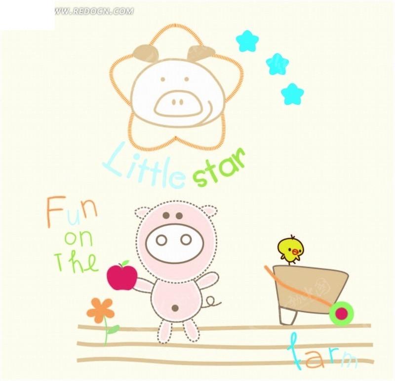 卡通动物插画-拿苹果的小猪