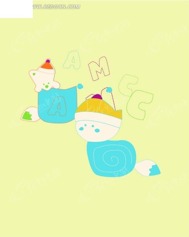卡通画 蓝色石头上的松鼠和小猪