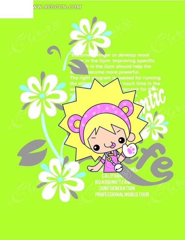 卡通画 黄头发小女孩和白色花朵