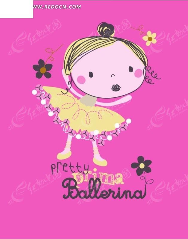 卡通画 穿着黄色裙子的小女孩ai免费下载_印花图案素材