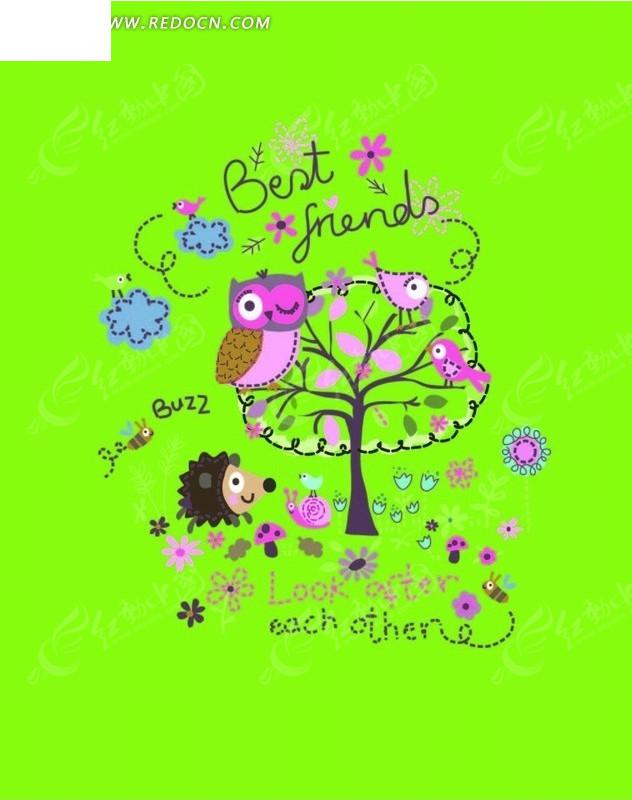 卡通动物插画-站在树上的猫头鹰和小鸟