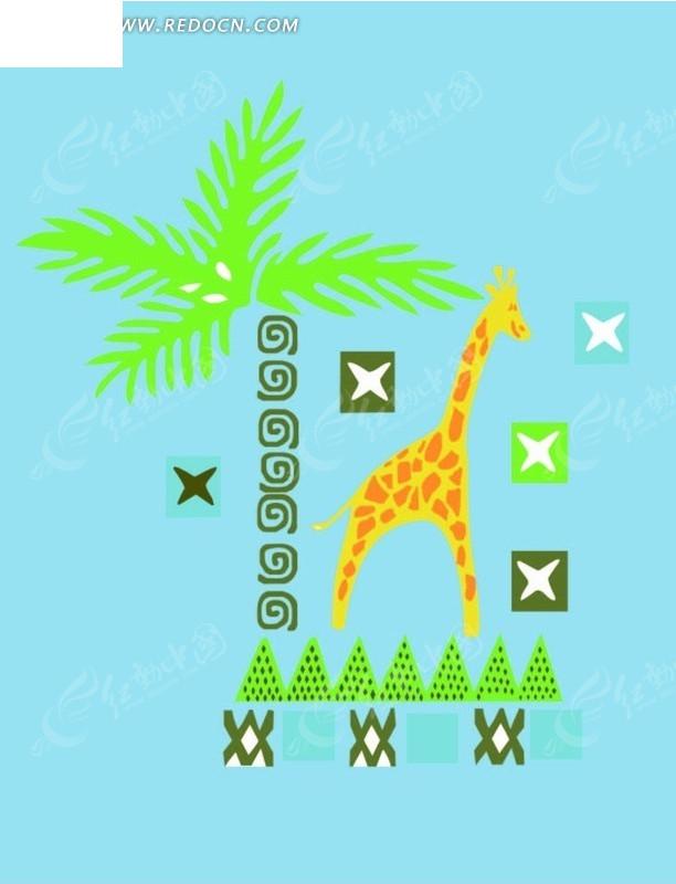 免费素材 矢量素材 花纹边框 印花图案 卡通动物插画-长颈鹿和树叶
