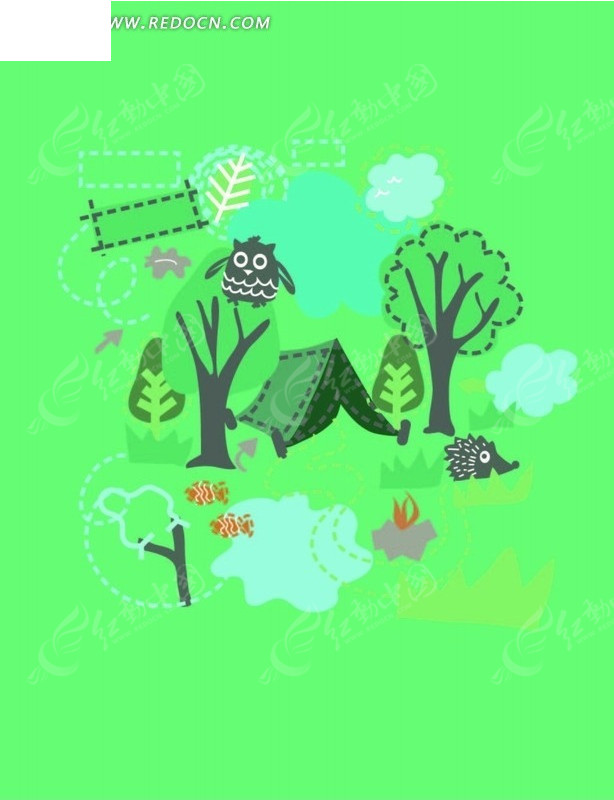 可爱秋天森林卡通动物背景图片[矢量图; 熊猫狗熊麋鹿森林动物矢量图