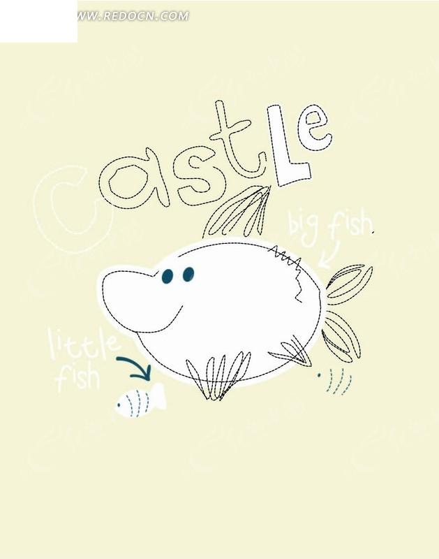 卡通动物插画-线条金鱼