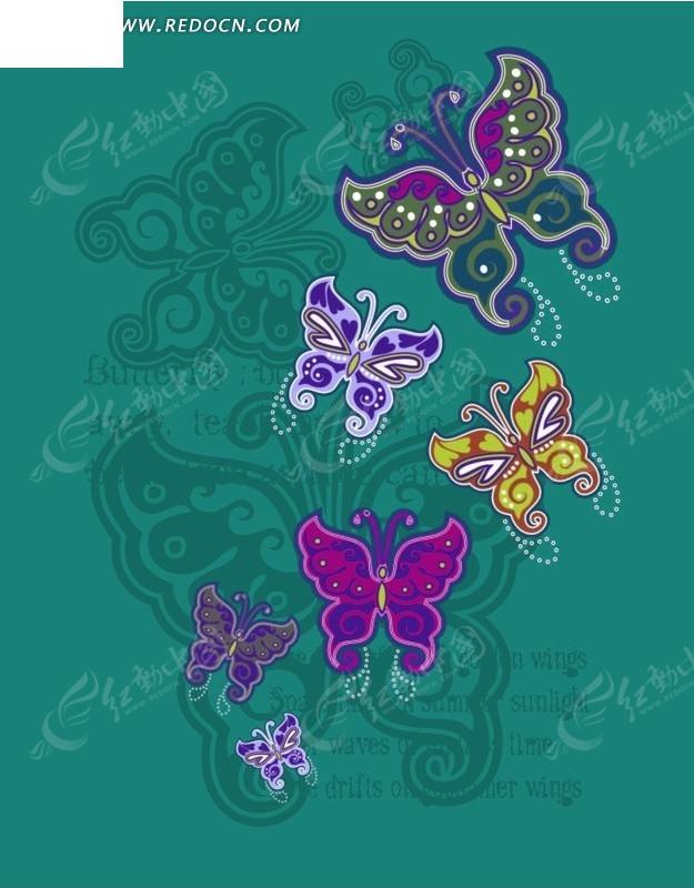 墨绿色背景 手绘精美蝴蝶 昆虫  印花图案 矢量素材