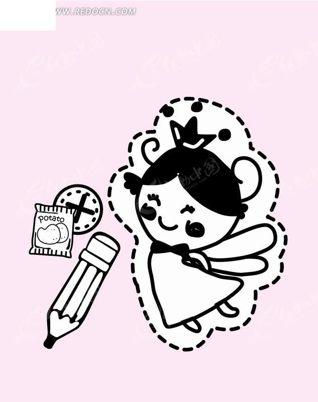卡通人物插画-虚线里的小女孩和铅笔