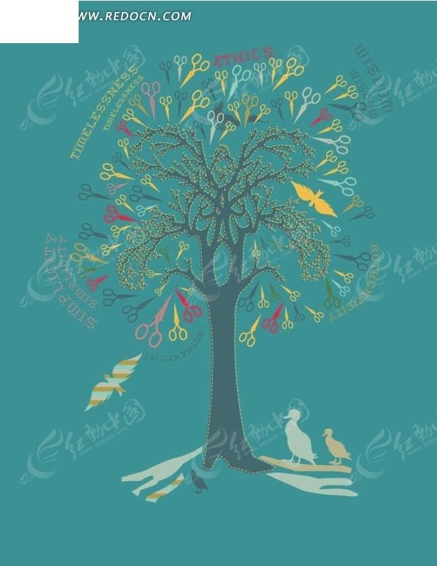 飞鸟 剪刀 树 手绘 插画 卡通 卡通动物 漫画 漫画动物 印花图案 矢量
