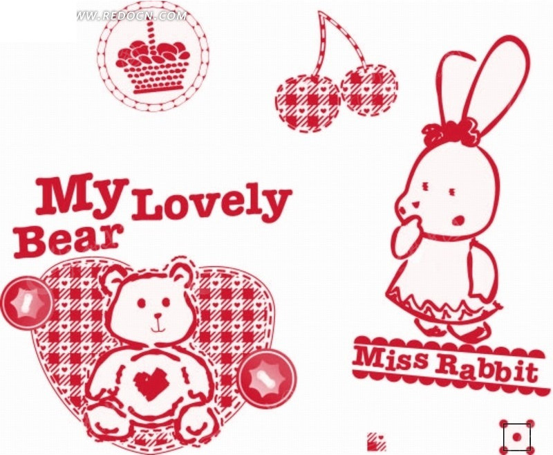 卡通动物插画 格子心形里的小熊和小白兔AI素材免费下载 红动网