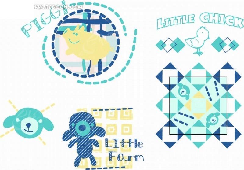 卡通动物插画-小熊和虚线里的小猪