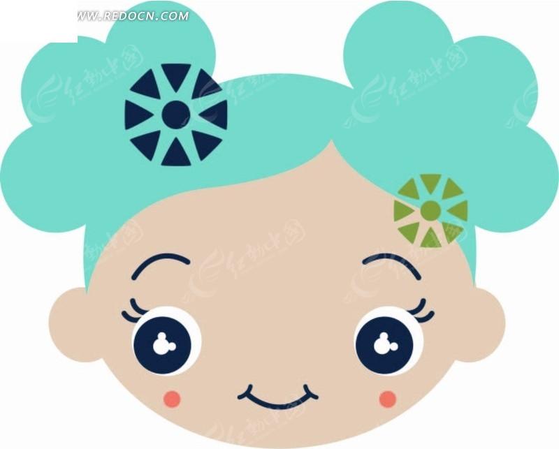 卡通人物插画-头上扎花朵的小女孩