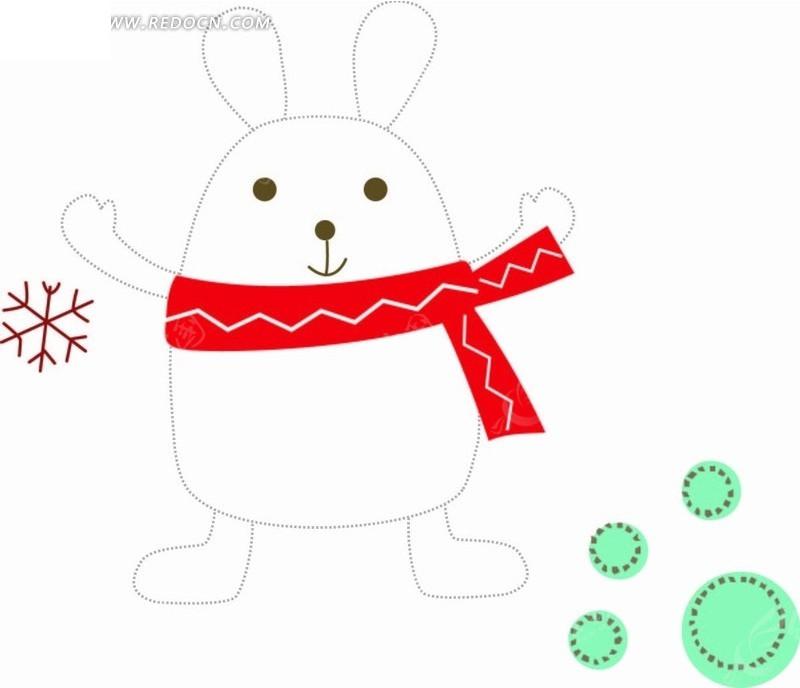 插画 系围脖的小白兔矢量图 印花图案