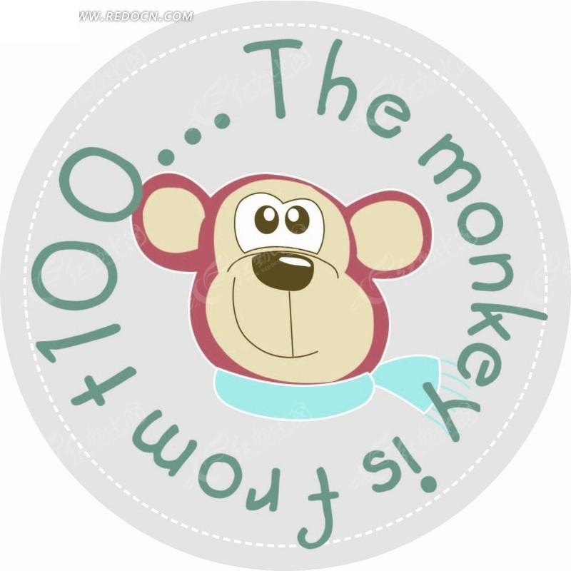 卡通动物插画-系围脖的猴子