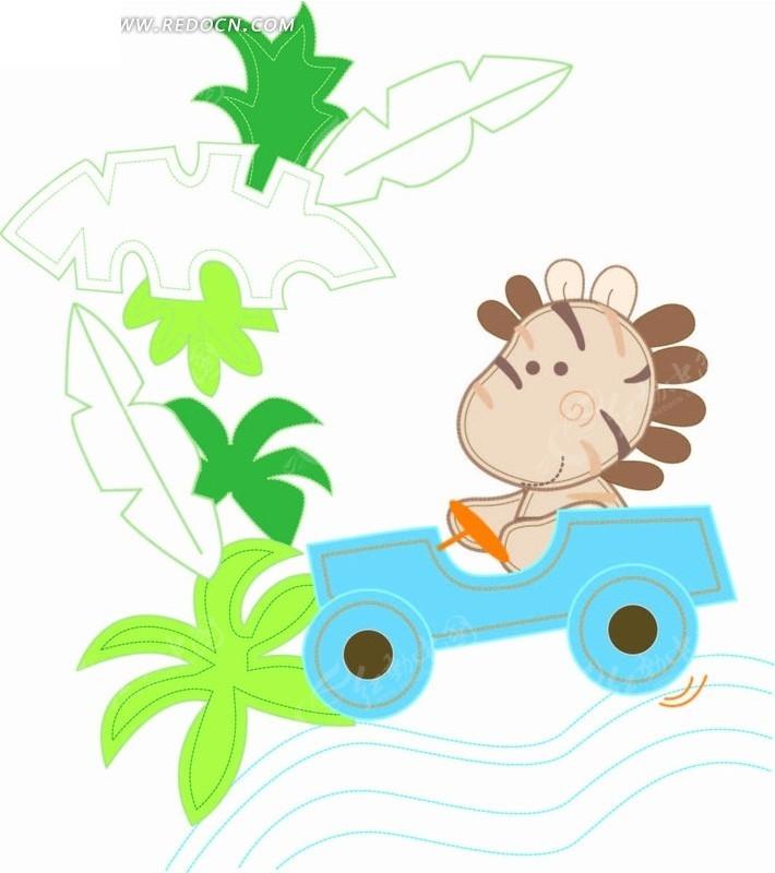 卡通动物插画-椰子树和开车的小马