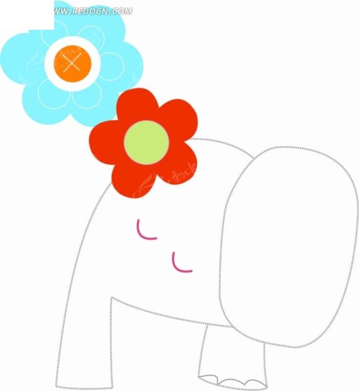卡通动物插画-线条大象和花朵