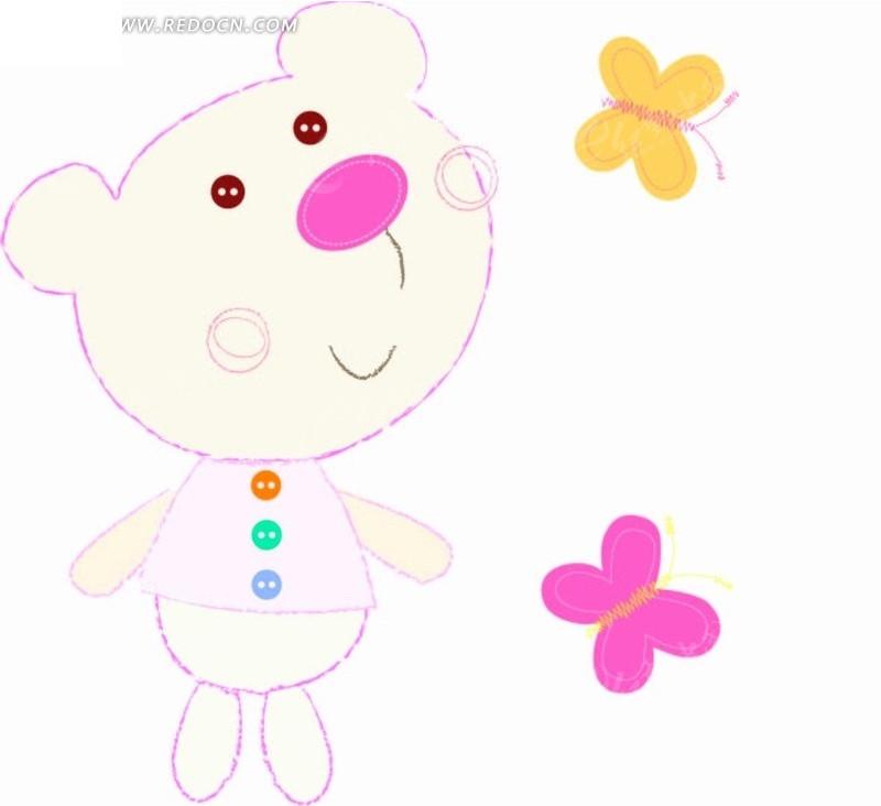 蝴蝶 小熊 扣子 虚线 插画 卡通 卡通动物 漫画 漫画动物 印花图案 矢
